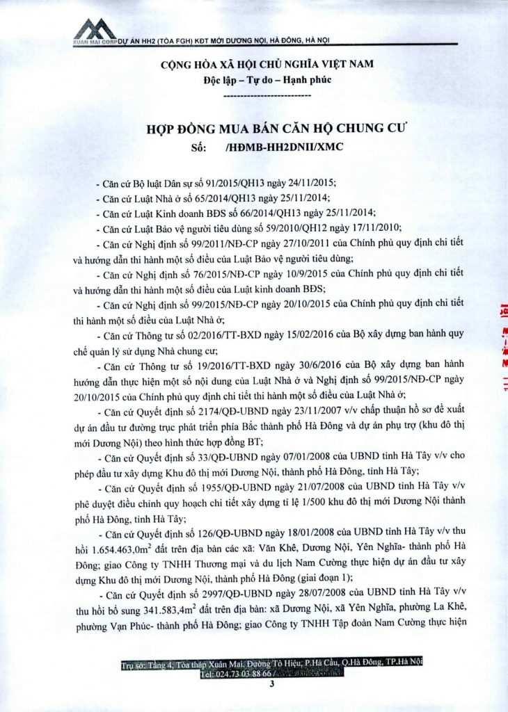 Hợp đồng mua bán chung cư Xuân Mai Complex, Dương Nội, Hà Đông
