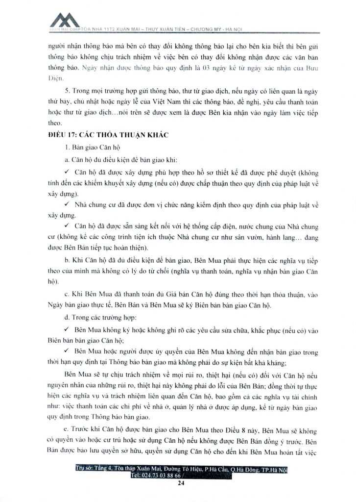 Hợp đồng chung cư 11T2 Xuân Mai, xã Thủy Xuân Tiên, Chương Mỹ
