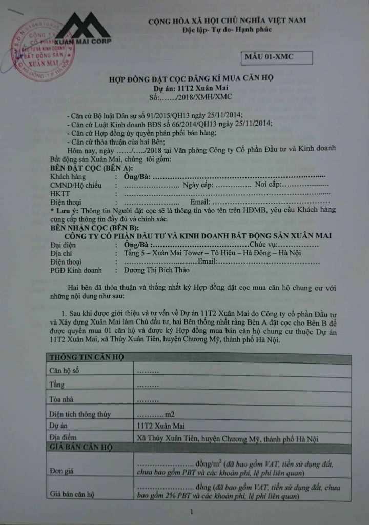 Mẫu hợp đồng đặt cọc chung cư 11T2 Xuân Mai, Chương Mỹ