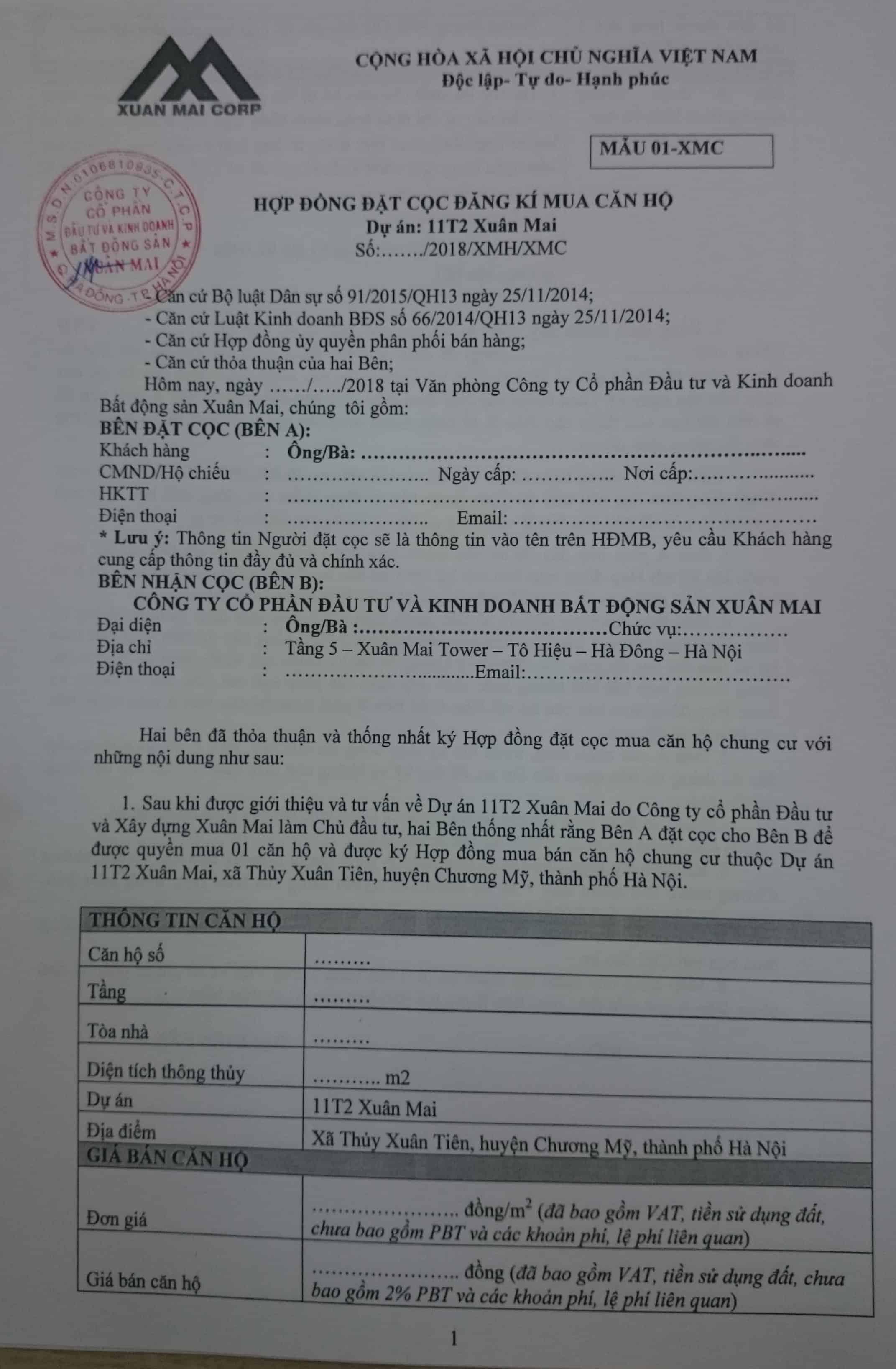 Mẫu hợp đồng đặt cọc chung cư xuân Mai Complex, Dương Nội, Hà Đông