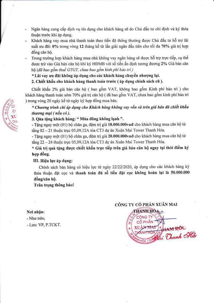 Chính sách bán hàng chung cư Xuân Mai Tower, Thanh Hóa