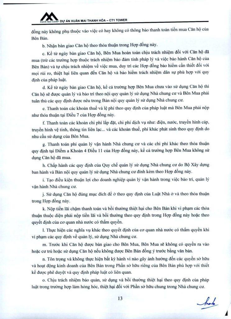 Hợp đồng dự án Xuân Mai Thanh Hóa