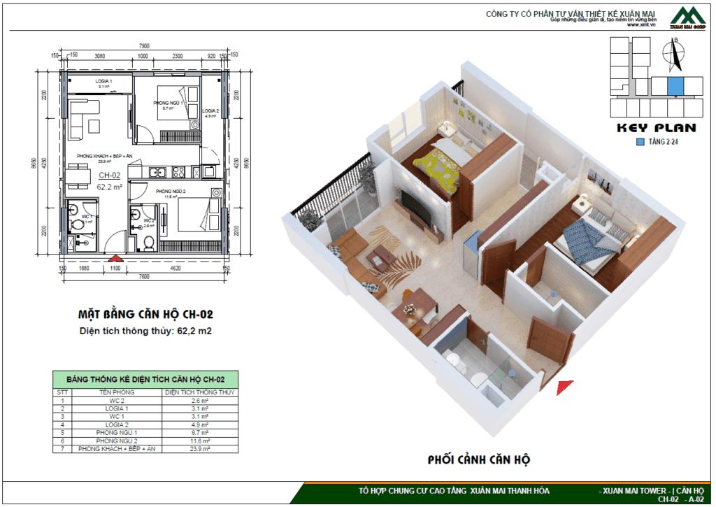 Thiết kế tòa CT3 Xuân Mai Tower, Thanh Hóa